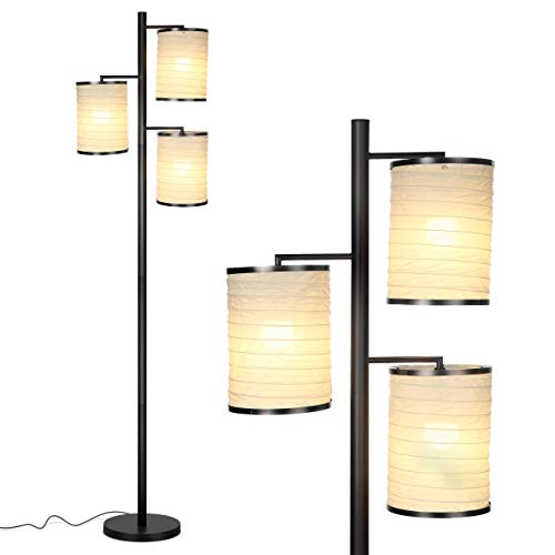 (Brightech Liam - Asian Lantern Shade Tree LED Floor Lamp - Tall Free Standing Pole with 3 LED Light Bulbs - Contemporary Bright Reading Lamp for Living Room, Office - Black)