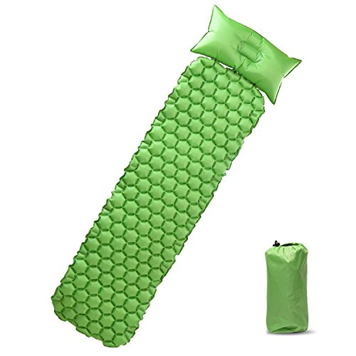 PACEARTH Lightweight Sleeping Pad Camping Mat with Attached Detachable Pillow Waterproof Anti-slip pad For Camping Hiking Backpacking Traveling Mountaineering Trekking