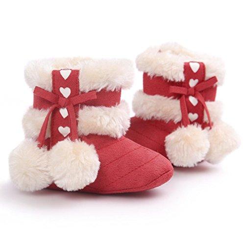 Tefamore zapatos niña, botas de antideslizante de sole suave de moda invierno de calentar para chicas Rojo