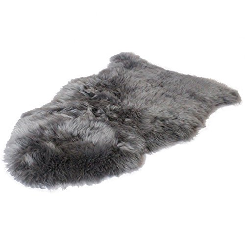Sheepskin Wool Rug Throw - Outlavish Sheepskin Rug Soft Genuine Natural Merino + Care & Cleaning Guide (2' x 3', Grey)