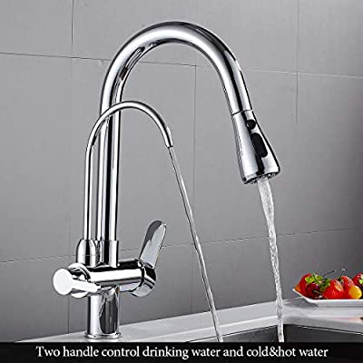 WANFAN Commercial Lead Free Pull Out Kitchen Sink Faucet Dual Handle 3 in 1 High Arc Water Filter Purifier Faucets