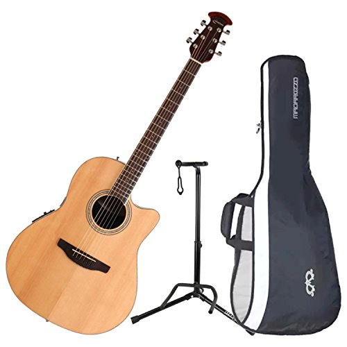 Ovation CS24-4 Celebrity Standard Mid-Depth Natural Acoustic/Electric Guitar with Gig Bag and Guitar Stand