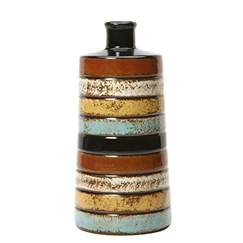 Hosley 10.25 Inch High Multi Colored Ceramic Bottle Vase. Ideal Gift for Wedding Home Floral Arrangements Spa Aromatherapy Votive Candle Garden Settings NTIOOP1 O9 (Bohemian Vase)