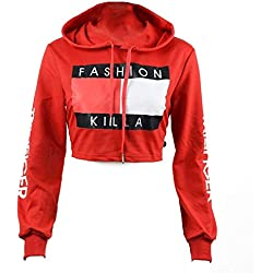 U-WARDROBE Casual Hoodie Literal Printing Sport Crop Top Sweatshirt Jumper Pullover Tops Red L