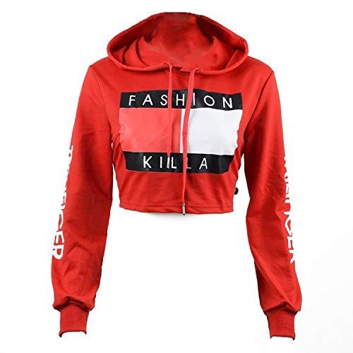 U-WARDROBE Casual Hoodie Literal Printing Sport Crop Top Sweatshirt Jumper Pullover Tops Red L