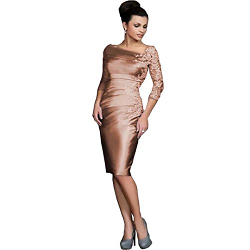 Chady 2017 Silver Knee-length Sheath Mother of the Bride Dresses Off-shoulder Lace 3/51 Long Sleeves Short Evening Gowns New Gowns by Chady