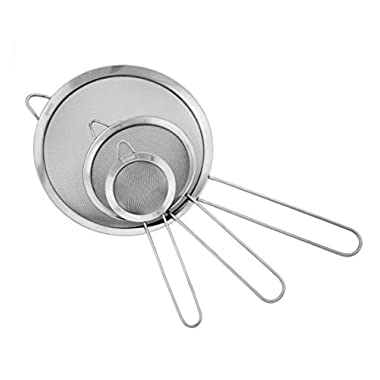 Ipow Stainless Steel Fine Tea Mesh Strainer Colander Sieve with Handle for Kitchen Food Rice Vegetable,set of 3