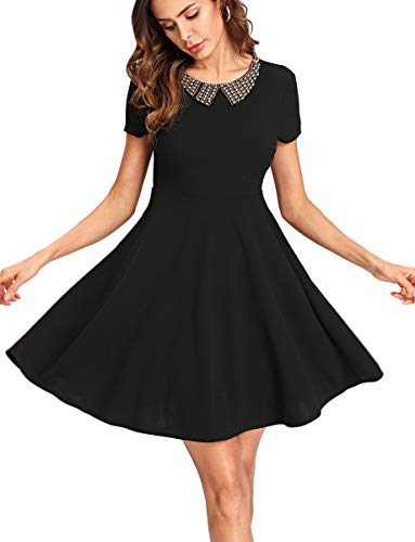 Romwe Women's A Line Short Sleeve Baby Doll Collar Flared Swing Cocktail Party Dress Black -