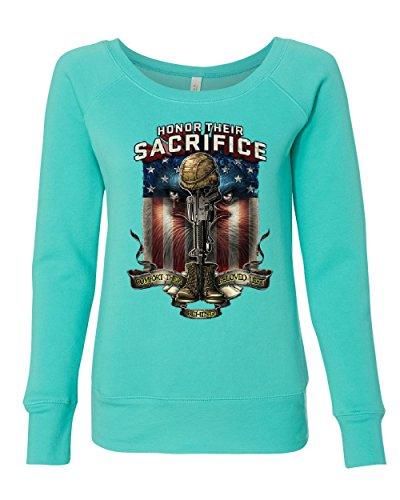 (Honor Their Sacrifice Women's Sweatshirt POW MIA Military Remembrance Army Teal M)
