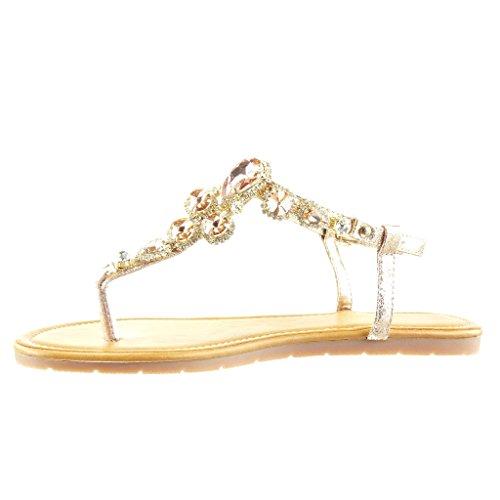 Angkorly - Chaussure Mode Sandale Tong salomés femme bijoux strass diamant Talon plat 1.5 CM - Champagne