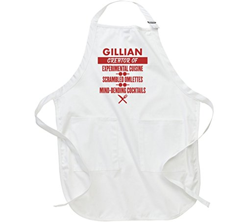 Gillian Cuisine Cocktails Food Creator Cooking Chef Custom Mother's Day Kitchen Apron L White