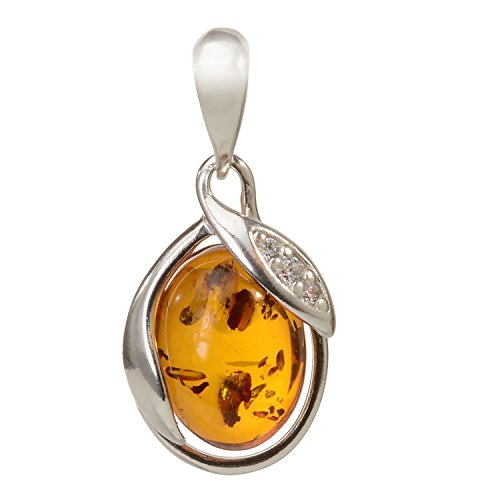 HolidayGiftShops Sterling Silver and Baltic Honey Amber Pendant Dawn