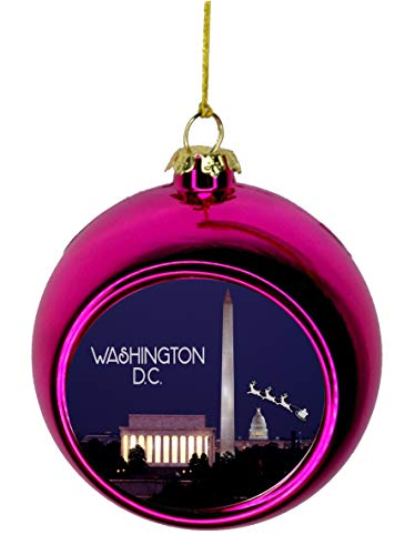 - Lea Elliot Inc. Santa Klaus and Sleigh Riding Over The Washington Monument in Washington D.C. USA Bauble Christmas Ornaments Pink Bauble Tree Xmas Balls