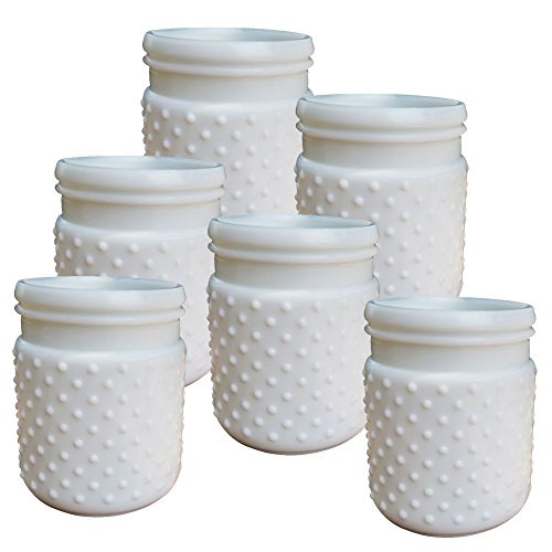 Vintage Inspired Hobnail White Milk Glass Jar Candle Holder, Table Decor, Antique Vase Centerpiece, Small, (White), (Set of 6)