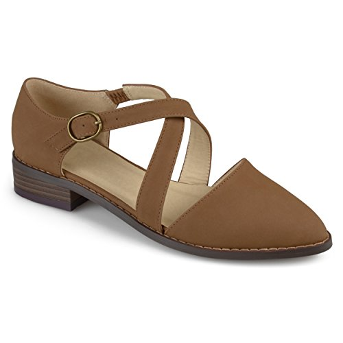 Ankle Collection Dorsay Womens Journee Collection Strap Taupe Flats Journee Dorsay Ankle Journee Flats Strap Taupe Womens AqIxwT7x