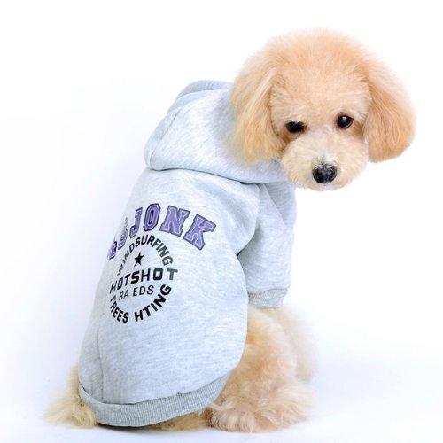Ropa Capucha Jersey para Perro Mascota Invierno Color Gris S