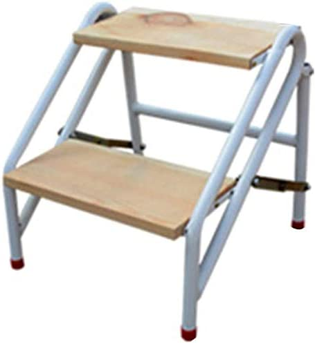 Escalera Taburete Multiuso Pedal de madera maciza Estructura de acero al carbono Escalada plegable antideslizante, escalera de 2, 3 y 4 peldaños de doble uso (Color: color madera, tamaño: 3 peldaños): Amazon.es: Hogar