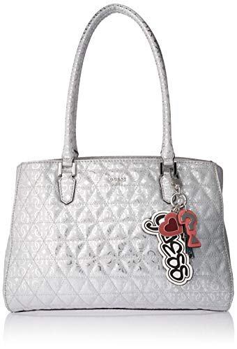 Metallic Satchel Handbag - GUESS Tabbi No Pins Metallic Girlfriend Satchel, Silver