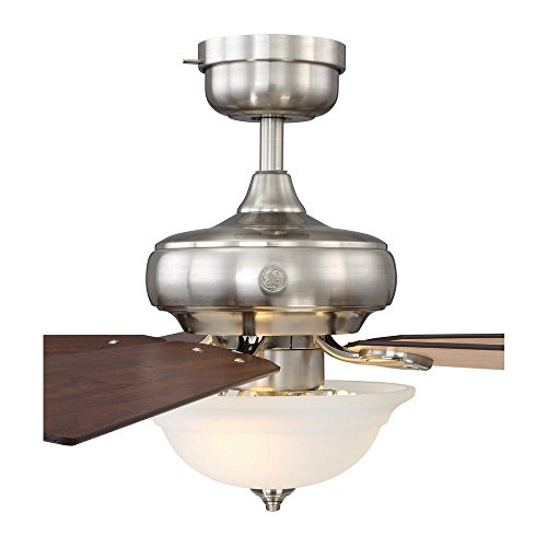 "GE Selena 54"" Brushed Nickel LED Indoor Ceiling Fan, SkyPlug Technology for Instant Plug and Play Mounting"