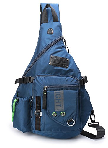 (DDDH Large Sling Bags Crossbody Backpack 14.1-Inch Chest Daypack Travel Bag Book Bag for Men&Women(Blue))