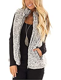 Women's Casual Sherpa Fleece Lightweight Fall Warm Zipper Vest with Pockets
