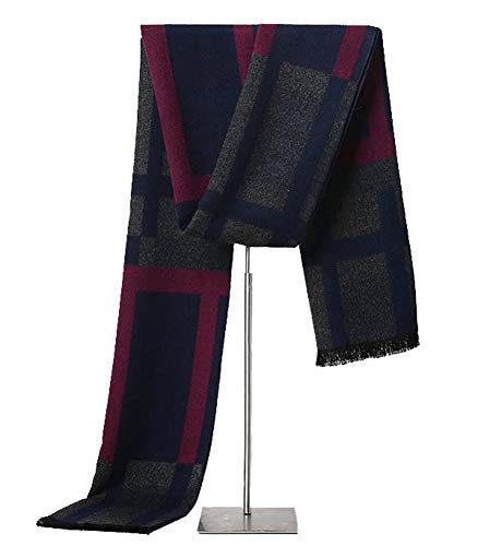 LALIFIT Men's Winter Cashmere Scarf Plaid Stripes Warm Soft Scarves with Tassel (Colored Lattice) -