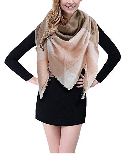 - BEINY Soft Cozy Plaid Scarf Gorgeous Triangle Blanket Scarf Wrap Shawl for Women (Khaki/Pink)