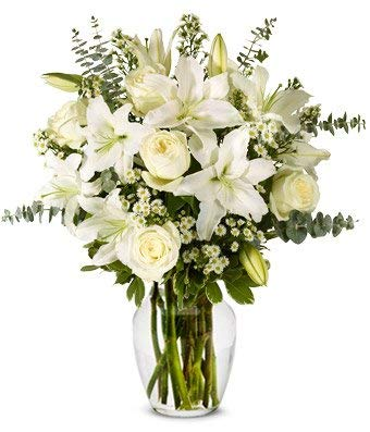 Flowers - With All Our Sympathy Lily Arrangement (Free Vase Included)