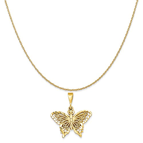 14k Yellow Gold Butterfly Chain (14k Yellow Gold Butterfly Charm on a 14K Yellow Gold Rope Chain Necklace, 18