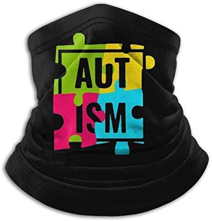 Autism Awareness With Puzzle ネックガード 伸縮 通気性 バンダナ 縫い目なし フェイスガード 多機能 スポーツ ターバン