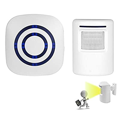 Wireless Home Security Driveway Alarm, Visitor Door Bell Chime With 1 Plug-in Receiver and 1 PIR Motion Sensor Detector, Infrared Alert System Kit, 38 Melodies to choose