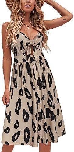 VOTEPRETTY Womens Summer Floral Sundress V Neck Tie Front Spaghetti Strap DressesPockets
