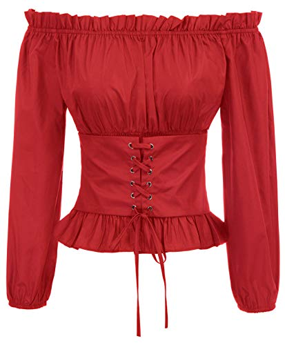 (Women's Red Renaissance Victorian Blouses Shirt Peasant Tops T Shirts L Red)