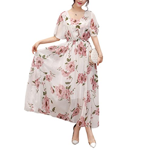 Honwenle Womens Vintage Round Neck Floral Printed Casual Swing Tea Chiffon Maxi Dress -