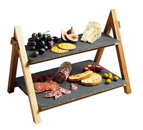 2 Tier Cake Stand - LiebHome Cheese Board/Slate Cake Stand - 2 Tier Cake Stand Serving Stand, Dessert stand - Triangular Serving Stand for Parties, Birthdays and Weddings - 41 x 33 x 25 cm