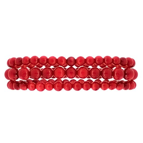 Set of 3 Red Simulated Coral Bead Stretchy Bracelet 5-7 (3 Stone Coral Bracelet)
