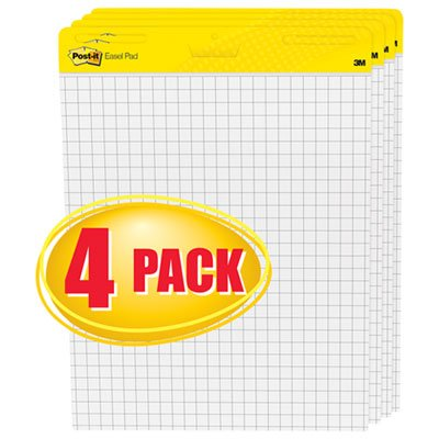 Self-Stick Easel Pads, Quad Rule, 25 x 30, White, 4 30-Sheet Pads/Carton, Sold as 4 Pad by Post-it