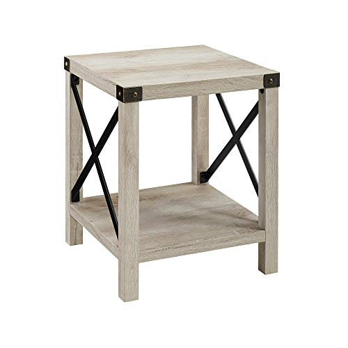 "WE Furniture AZF18MXSTWO Side Table, 18"", White Oak"