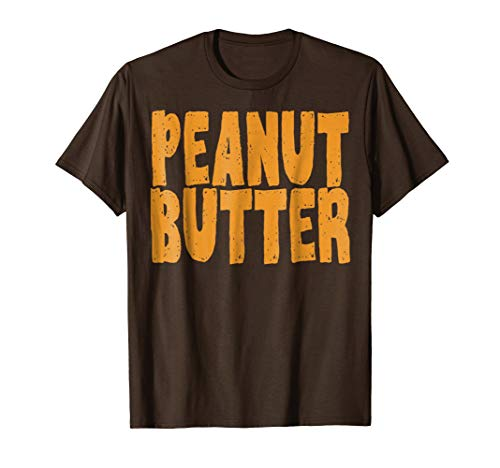 Mens Peanut Butter T-Shirt Jelly Couples Friends Halloween Shirt Large Brown