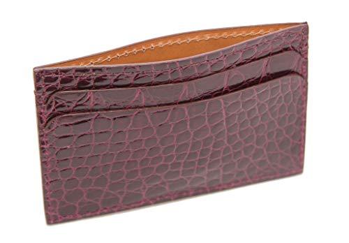 Hadley-Roma Bryant Park Burgundy Genuine Alligator ID Card Case USA