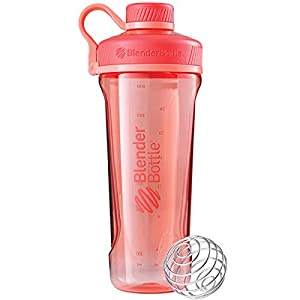 2 Pack Blender Bottle Radian 32 oz. Tritan Shaker Bottle with Loop Top (Black : Coral)