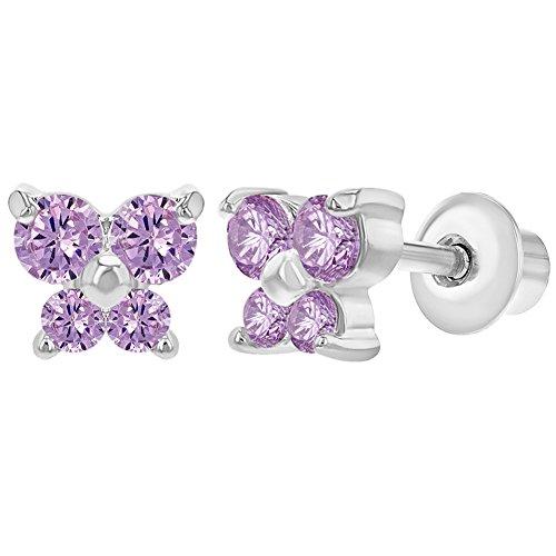 Rhodium Plated Pink Crystal Butterfly Screw Back Earrings Baby Girl Infants 5mm (Plated Butterfly Earrings)