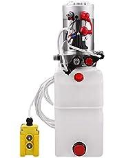 Portable Pneumatic Electric Oil Pump 6L,Hydraulic Power Double Acting Hydraulic Pump Unit 12V Plastic Tank Hydraulic Pump for Dump Trailer