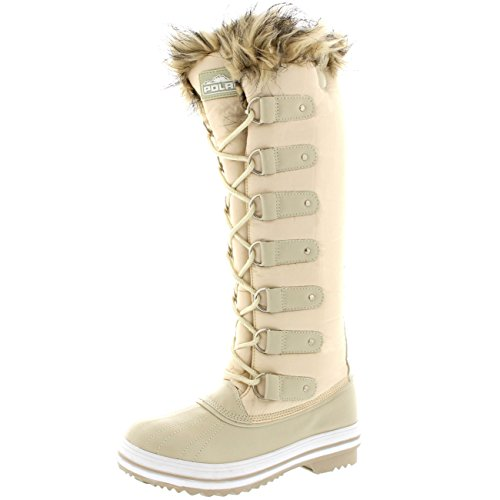 Womens Lace Up Rubber Sole Knee High Winter Snow Rain Shoe Boots - 8 - BEN39 YC0096 (Boots Sole Rubber)
