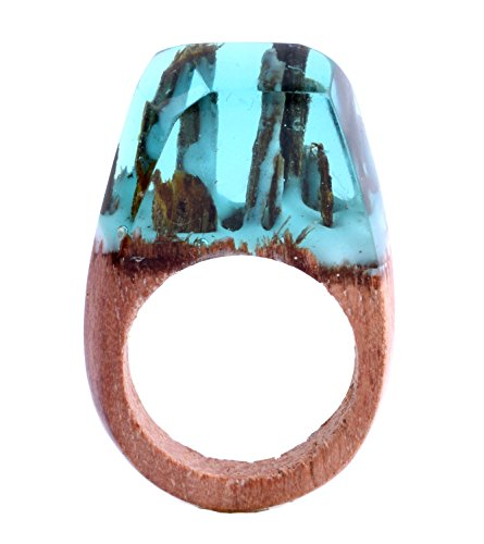 Qiaose Handmade Wood Resin Rings Magical Mini Enchanted Worlds Inside Ring Jewelry For Womens (9)