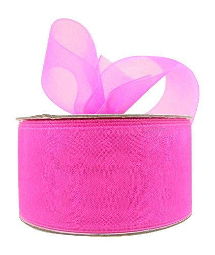 - Ribbon Bazaar Sheer Organza 1-1/2 inch Hot Pink 25 Yards 100% Nylon Ribbon