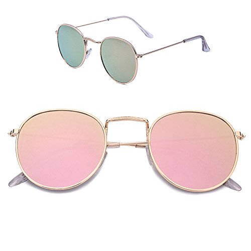 Sunglasses for Women Classic Metal Frame Round Circle Mirrored Fashion Sunglasses UV Eye Protection for - Fitting Sunglass