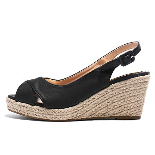 Alexis Leroy Women's Peep Toe Crisscross Strappy Slingback Espadrilles Wedge Sandals Black 8-8.5 M US