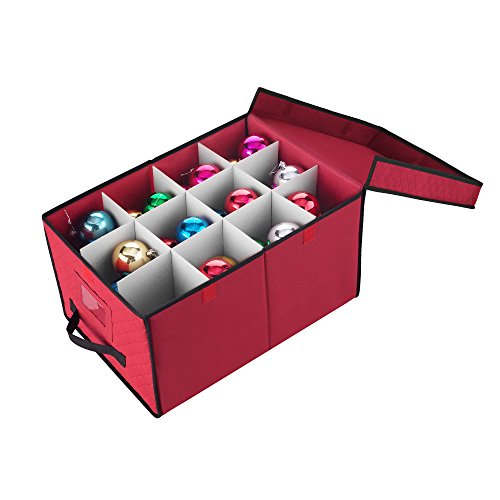 Elf Stor 1046 Ornament Storage Chest with Lid and 24 Extra Large Individual Compartments-Stackable Organizer Cube in Red, Case]()