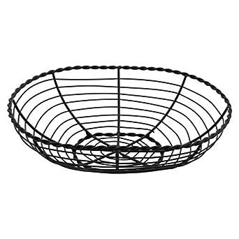 G.E.T Iron Powder Coated Enterprises WB-702 10 x 7 Oval Black Wire Basket 3 Deep